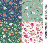set of seamless flowers... | Shutterstock .eps vector #301223702