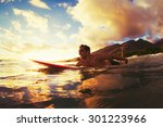 surfing at sunset. outdoor... | Shutterstock . vector #301223966