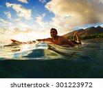 surfing at sunset. outdoor... | Shutterstock . vector #301223972