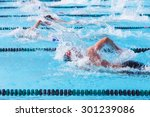 freestyle swimmers racing | Shutterstock . vector #301239086