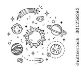 hand drawn solar system with... | Shutterstock .eps vector #301258262