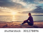 young blond woman looking at... | Shutterstock . vector #301278896