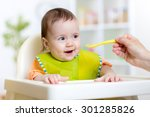 child girl eats healthy food... | Shutterstock . vector #301285826
