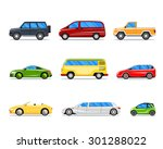 car icons in flat style. jeep...   Shutterstock . vector #301288022