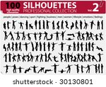 100 vector silhouettes... | Shutterstock .eps vector #30130801