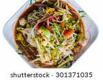 papaya salad square white plate | Shutterstock . vector #301371035