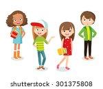 pupils girls and boy | Shutterstock .eps vector #301375808