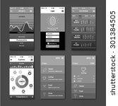 vector ui mobile app set flat...