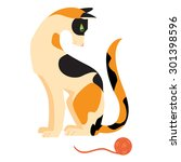Cat With Tangled Ball. Vector...