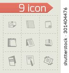 vector notes icon set on grey...