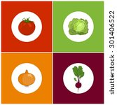 set of icons vegetables   icon... | Shutterstock .eps vector #301406522
