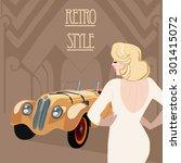 retro  flapper  girl and  race... | Shutterstock .eps vector #301415072