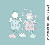 cute cartoon angels in the... | Shutterstock .eps vector #301431125