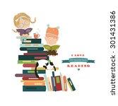 funny kids reading books.... | Shutterstock .eps vector #301431386