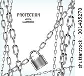 padlock and many chains... | Shutterstock .eps vector #301485278