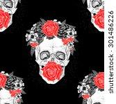 seamless skull pattern... | Shutterstock .eps vector #301486226
