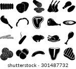 meat symbols set | Shutterstock .eps vector #301487732