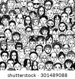 unhappy people   hand drawn... | Shutterstock .eps vector #301489088