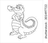 Happy Cute Cartoon Alligator....