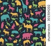 animals silhouette seamless... | Shutterstock .eps vector #301504202