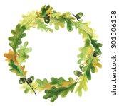 Watercolor Wreath With Oak...