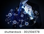 close up of businessman drawing ... | Shutterstock . vector #301506578
