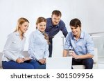 four co workers discussing... | Shutterstock . vector #301509956