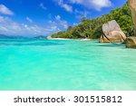 anse source d'argent  ... | Shutterstock . vector #301515812