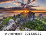 colorful sunset  saxon... | Shutterstock . vector #301520192