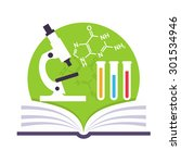 science emblem with a book  a... | Shutterstock .eps vector #301534946