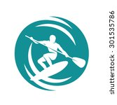 man on the paddleboard  surfing ... | Shutterstock .eps vector #301535786