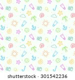 summer beach pattern background ... | Shutterstock .eps vector #301542236