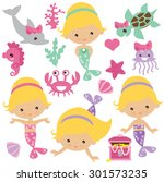 mermaid vector illustration | Shutterstock .eps vector #301573235
