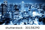 city night sky view - stock photo