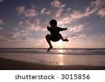 jumping on the beach | Shutterstock . vector #3015856