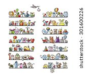 shelves with baby icons for... | Shutterstock .eps vector #301600226