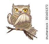 owl. cute vector owl with big... | Shutterstock .eps vector #301601372