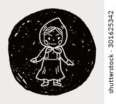dutch woman doodle | Shutterstock . vector #301625342