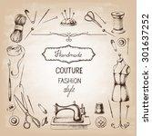 set of needlework   scissors ... | Shutterstock .eps vector #301637252