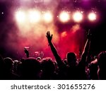silhouettes of concert crowd in ... | Shutterstock . vector #301655276