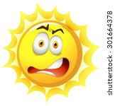bright sun with shocking face   Shutterstock .eps vector #301664378