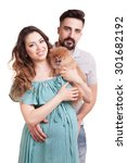 happy familly with pregnant... | Shutterstock . vector #301682192