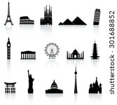 a collection of icons of famous ... | Shutterstock .eps vector #301688852