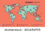world map illustration line art | Shutterstock .eps vector #301696955