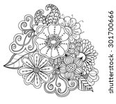 doodle art flowers. zentangle... | Shutterstock .eps vector #301700666