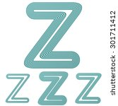 teal line z logo design set