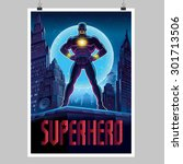 superhero in action. superhero... | Shutterstock .eps vector #301713506