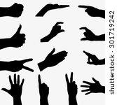 Few Black Silhouette Hand On...