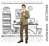 vector hipster business man... | Shutterstock .eps vector #301720466