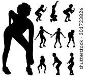 black silhouette of woman on... | Shutterstock .eps vector #301723826